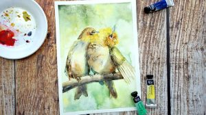 Paint Birds in Watercolor: step by step tutorial Course For Free | Learn mixed watercolor technique while painting cute birds...